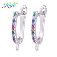 juya diy rainbow charms earwires accessories goldsilver color earring hook clasps for handmade fine exquisite jewelry making