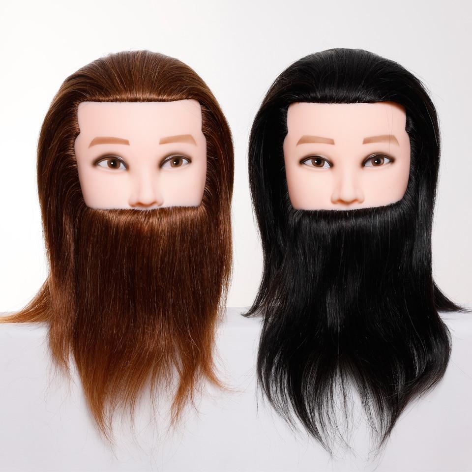Profesional de peluquería cabeza maniquí muñeca con 100 cabello humano y barba para peluquería práctica de cabello traning head