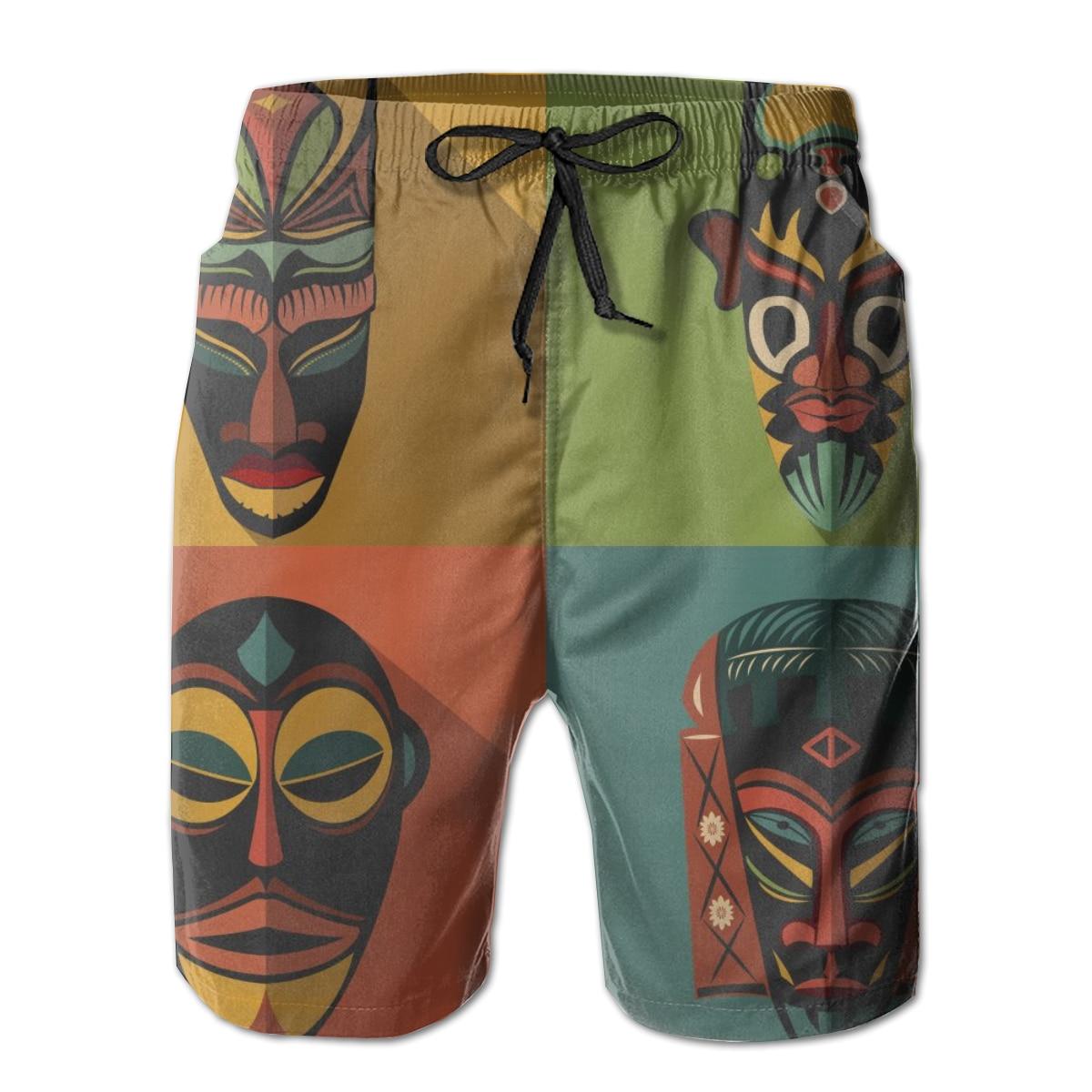 شورت سباحة رجالي ، ملابس بحر ، نمط أفريقي عرقي قبلية ، لركوب الأمواج ، للرياضة