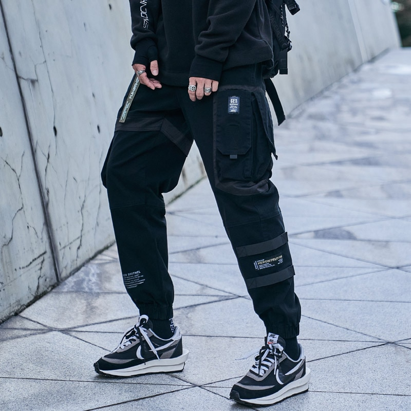 Мужские брюки-карго GlacialWhale, модные мужские брюки-карго с боковыми карманами 2021 года, мужские брюки в стиле хип-хоп, японская уличная одежда, ...