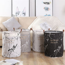 Canvas Folding Laundry Baskets Nordic Marbling Pattern Dirty Clothes Hamper Storage Basket Toys Sundries Organizer 40*50cm 1PC