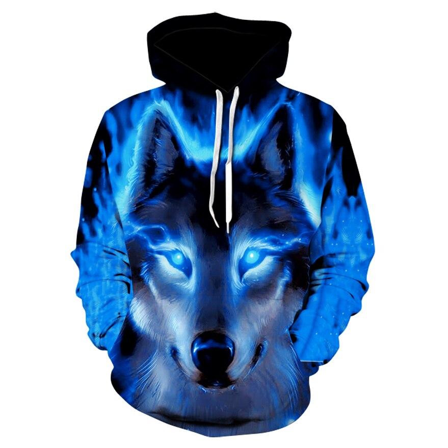 Толстовка с капюшоном 3d, модная мужская, женская и мужская толстовка с капюшоном s, светящийся дизайн волка