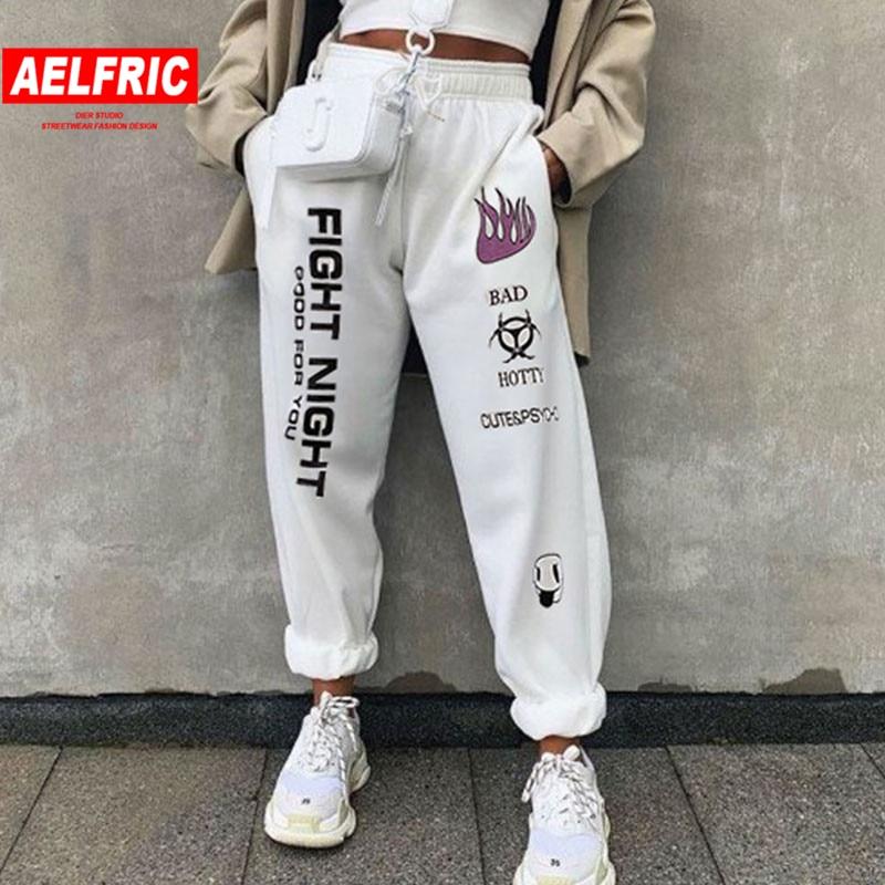 Aelfric de blanco Streetwear pantalones WomenHigh cintura tobillo impresa longitud pantalones de las mujeres de otoño e invierno pantalones de moda
