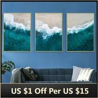 Peinture sur toile avec paysage deau de mer  affiche dart mural minimaliste abstrait pour decoration de salon  decoration de maison
