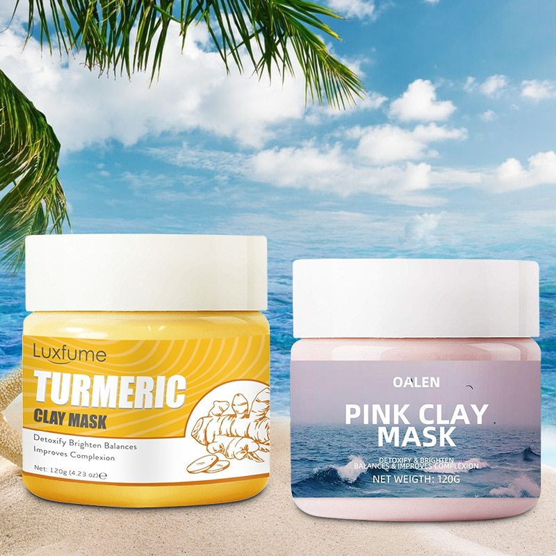 240G Female Face Mud Mask Product Mix Turmeric Clay Mask Pink Clay Mask Nourishing Whitening Anti-wrinkle Pore Cleaner Skin Care
