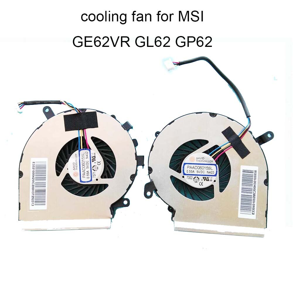 Кулеры для процессора MSI GE62VR, кулер для графического процессора, PAAD06015SL, DC5V, 0,55a, 4pin