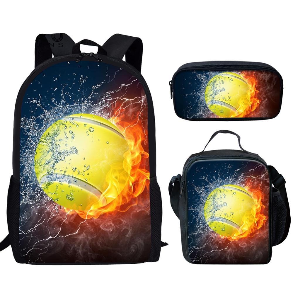 School Bags For Teenage Girls Boys Tennis/Volleyball/Billiards/ Blazing Golf Boll 3D Print Ball On Fire Water Series