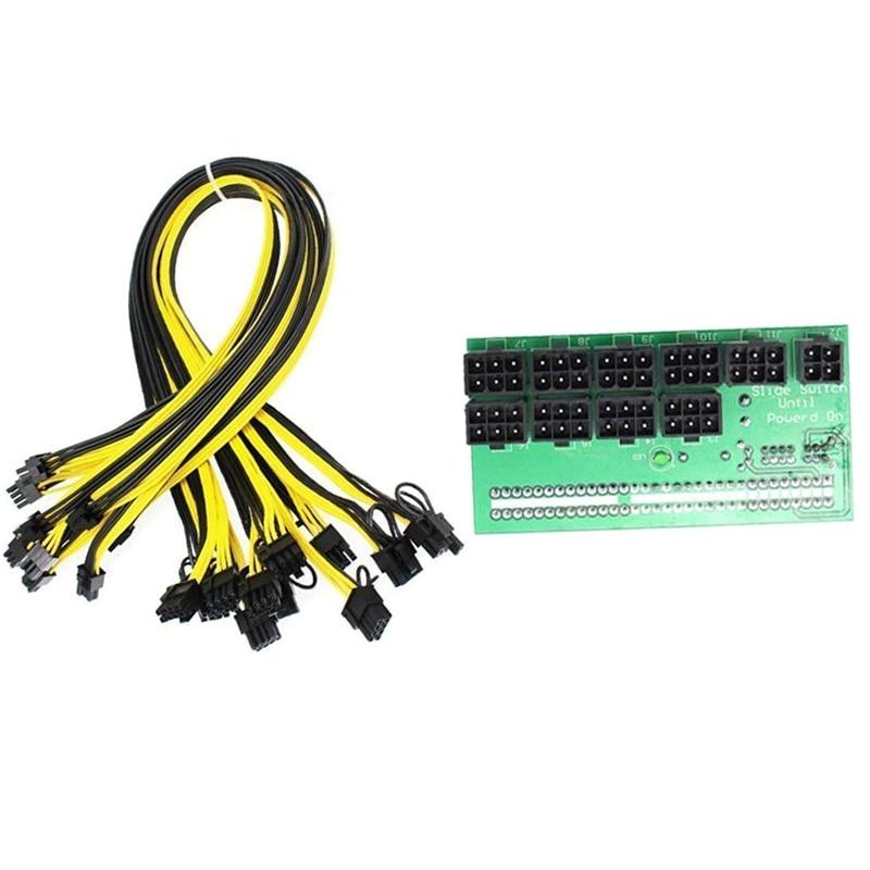 ETH ZEC التعدين خادم امدادات الطاقة 12 فولت وحدة معالجة الرسومات/PSU لوحة القطع 9 قطعة 18AWG PCI-E 6 دبوس إلى 6 + 2 دبوس الكابلات محول الطاقة