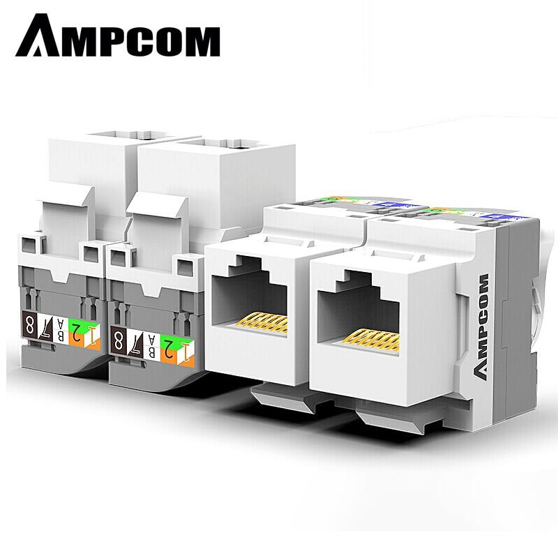 AMPCOM 10-Pack CAT5e RJ45 herramienta sin herramienta Keystone Jack, sin agujeros abajo herramienta necesaria UTP módulo conector blanco