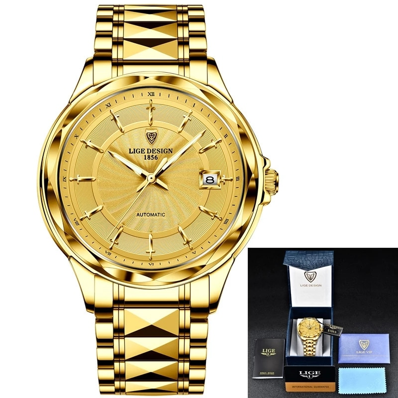 LIGE Men Automatic Mechanical Watches Luxury Brand Business Tungsten Steel Waterproof WristWatch Men Fashion Clock reloj hombre enlarge