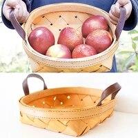 handmade wooden storage basket japanese style cosmetics jewelry bread fruit storage basket desktop finishing box