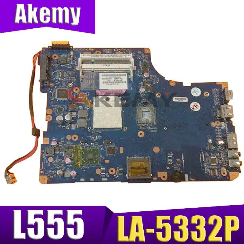 AKEMY K000093250 Laptop Motherboard For Toshiba Satellite L555 L555D L550D LA-5332P Main Board WORKS