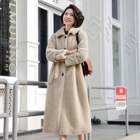2019 new winter women casual real wool fur slim x long coat ladies natural sheep shearing fur thick jacket with belt abrigo j106