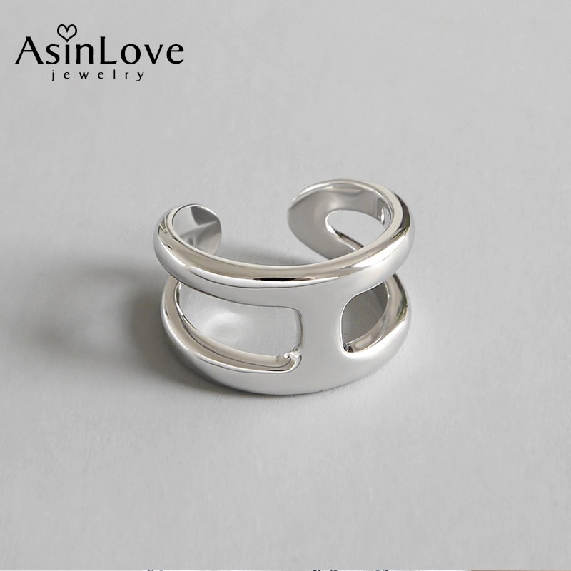 AsinLove, Anillo Único sencillo con letras H, anillos abiertos, creativo anillo de Plata de Ley 925 auténtica hecho a mano de diseñador para mujeres y niñas, joyería fina
