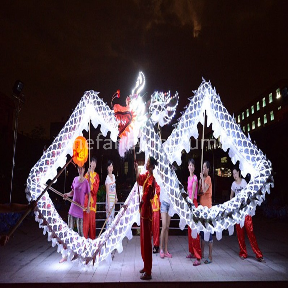 فانوس تنين صيني LED ، طول 4 متر ، مقاس 5 ، مطلي بالذهب ، 4 مصابيح LED ، أصلي ، مثالي للمهرجان