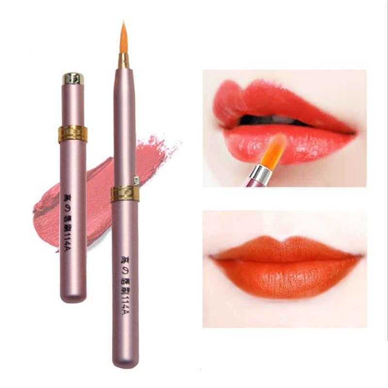 1Pcs mini Lip brush with cap Portable Make up brush Beauty tool not disposable lipstick companion Metal handle adjustable hair