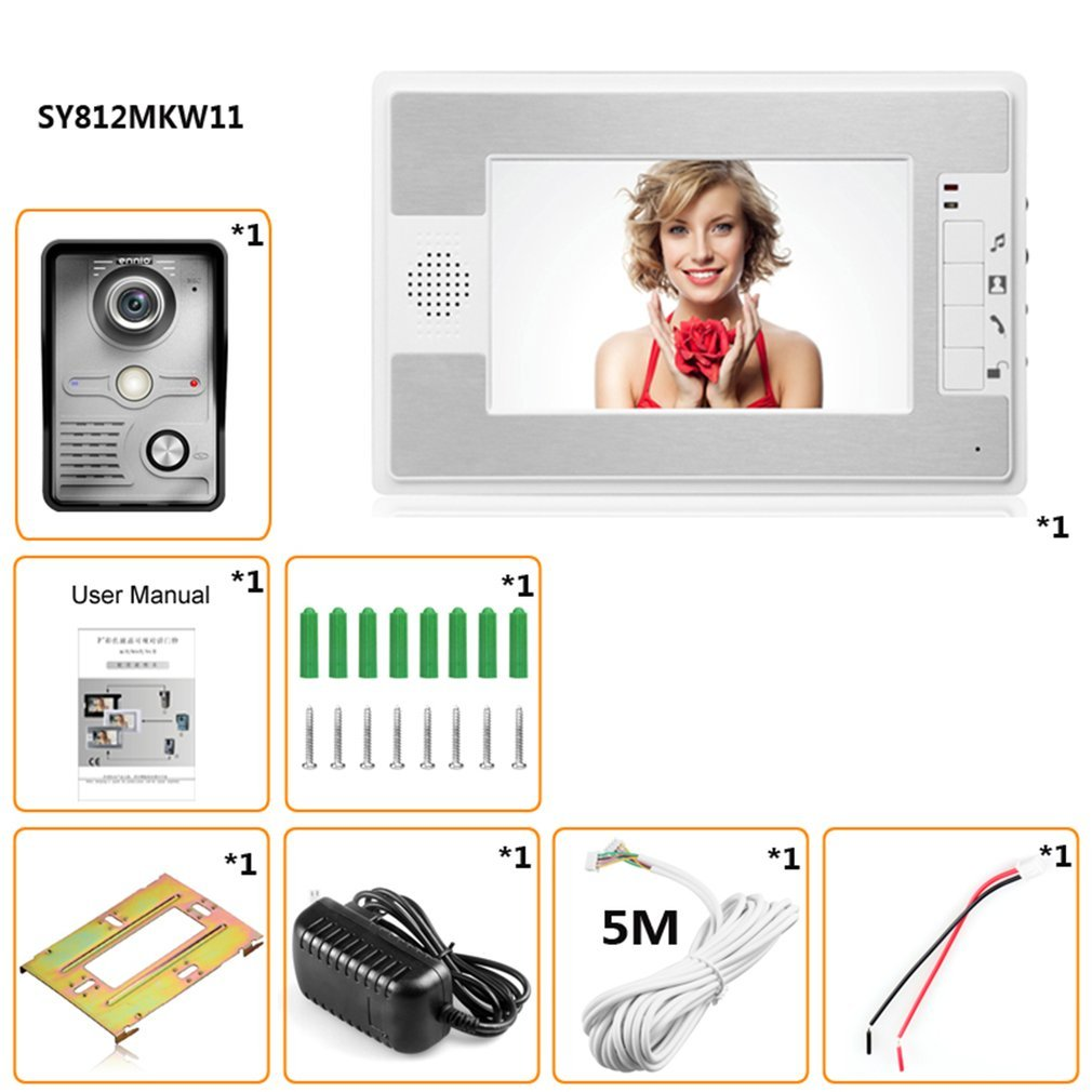 New Arrivals!!! Household 7 Inch TFT LCD Screen Display Wired Doorbell Aluminum Alloy Waterproof Night Vision Infrared Doorbell