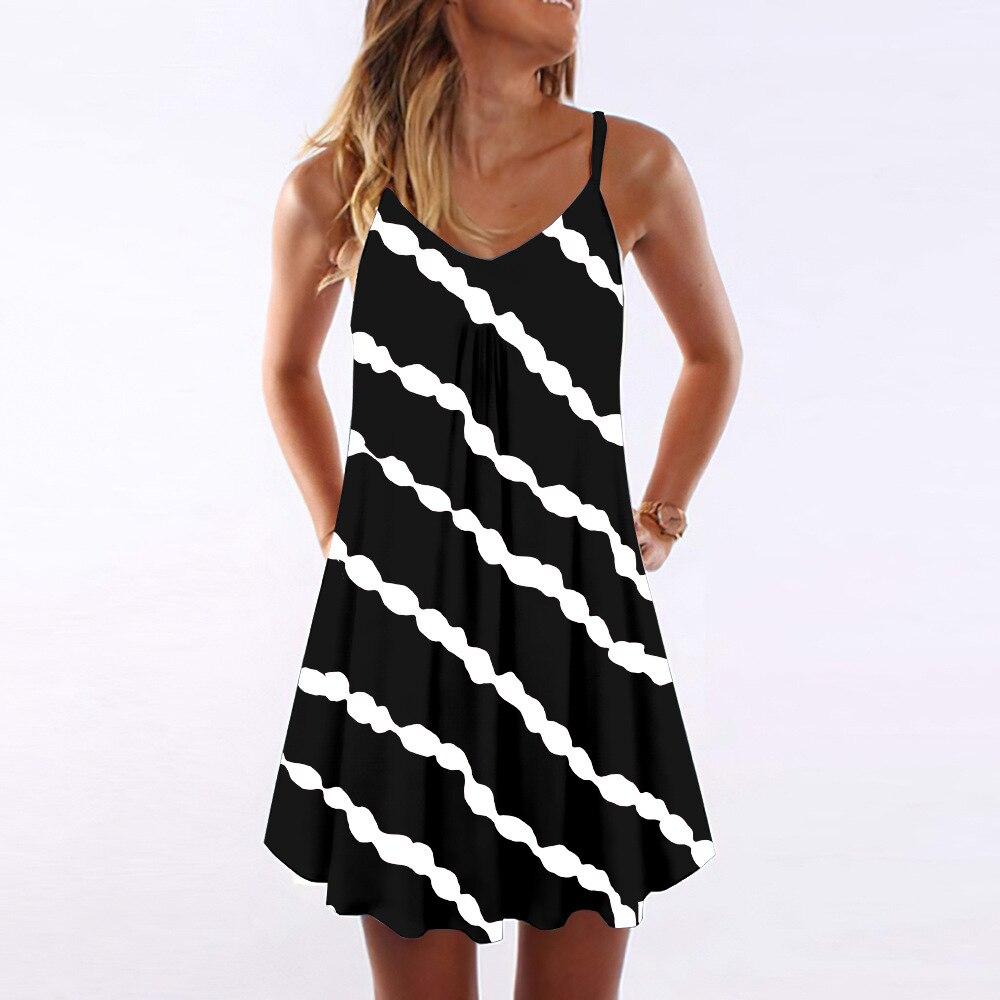 Женское платье с V-образным вырезом, Повседневное платье с градиентной диагональной полосой, V-образным вырезом и горизонтальным принтом, 2021