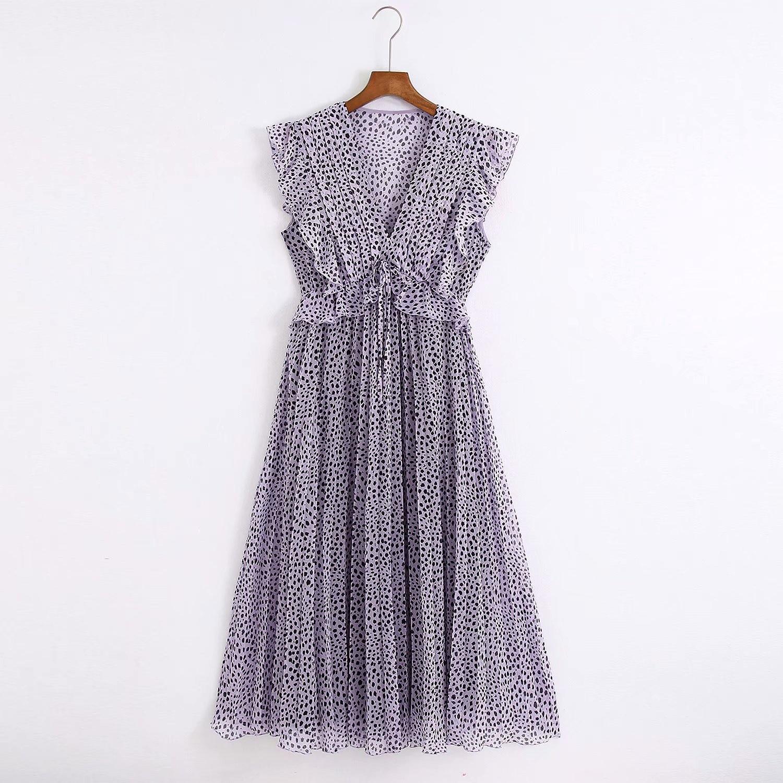 2020 Summer New Sleeveless Print Pleated zaraing women Dress sheining vadiming female dress vintage plus size C2111