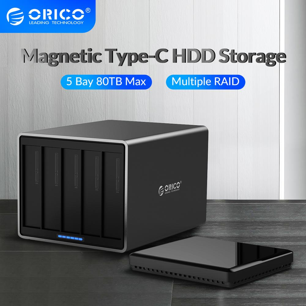 ORICO NS Series 3.5 inch 5 Bay TypeC with RAID HDD Enclosure Alumium 5Gbps HDD Docking Station Support 80TB Haid Disk HDD Case