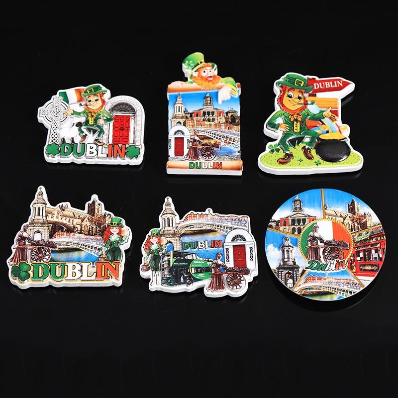 Pegatina de imanes para nevera, Landmark de Irlanda, juego creativo de resina de Berlín, Set de imanes para nevera, recuerdo para decorar el hogar