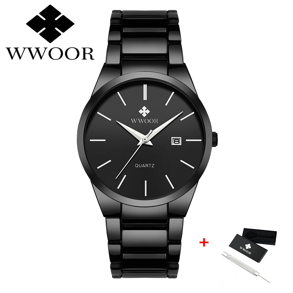 WWOOR Brand Luxury Mens Watches Luminous Waterproof Stainless Steel Watch Quartz Men Calendar Business Wristwatch Relojes Hombre