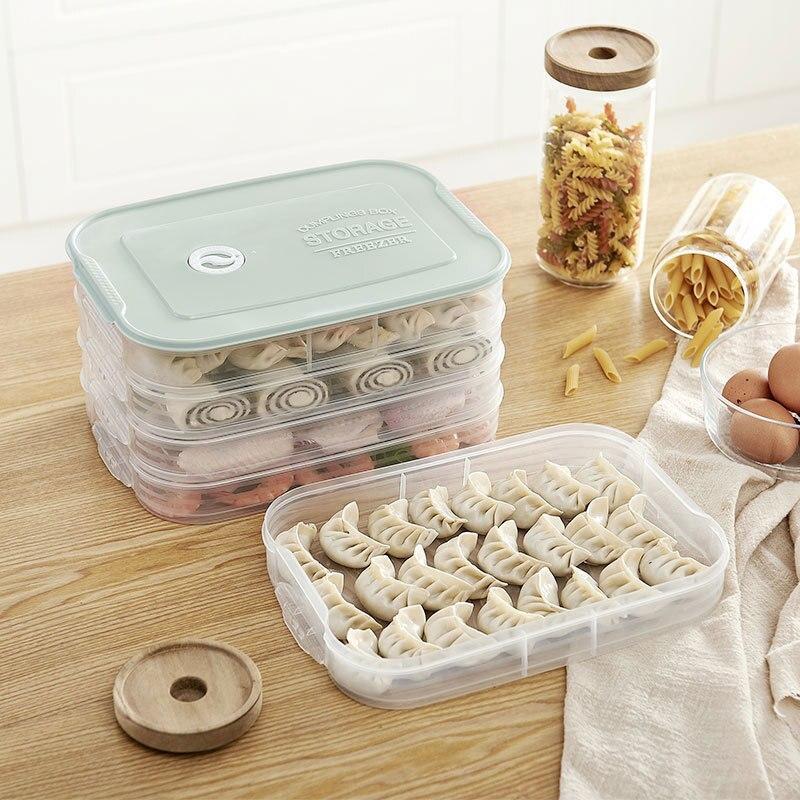 Caja de almacenamiento de masa de plástico de 4 capas, nevera, congelador, bandeja para albóndigas, recipiente de almacenamiento de alimentos para el hogar