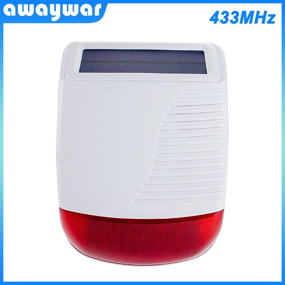 Awaywar New 433MHz Wireless Solar outdoor Siren light Flash Strobe Waterproof Alarm for Home   Security Alarm System Smart Burgl недорого
