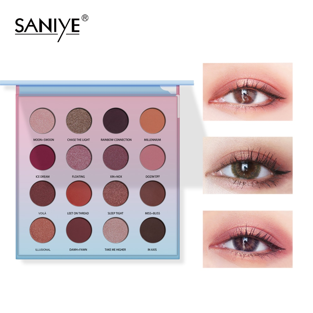 SANIYE 16 Colors  Eyeshadow Palette Holographic Shiny Matte Glitter Pigment Eye Shadow Pallete Metallic Diamond Makeup Palette недорого