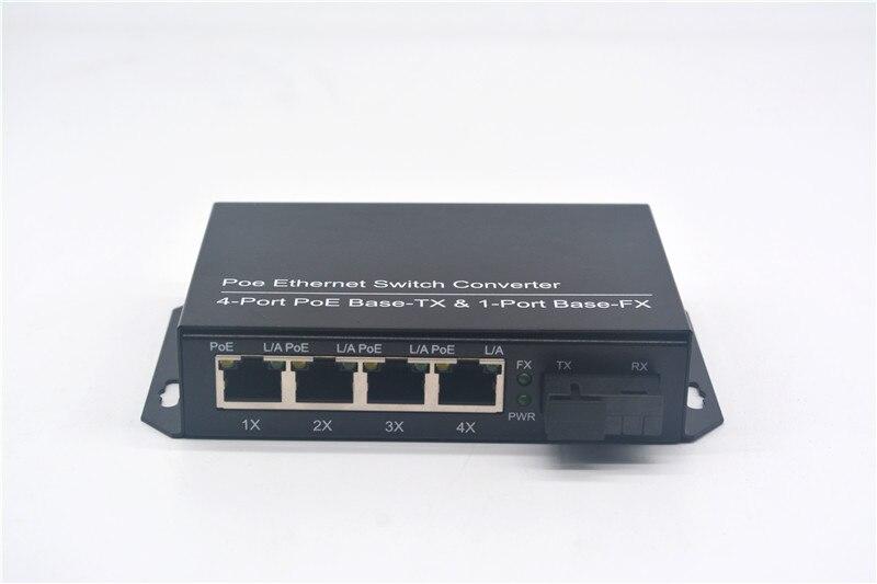 Convertidor de conmutador Ethernet Gigabit Poe Base PoE de 4 puertos-Base Tx y Base de 1 puerto-Fx fibra Dual de modo único 20KM 1310nm fuente de alimentación CA