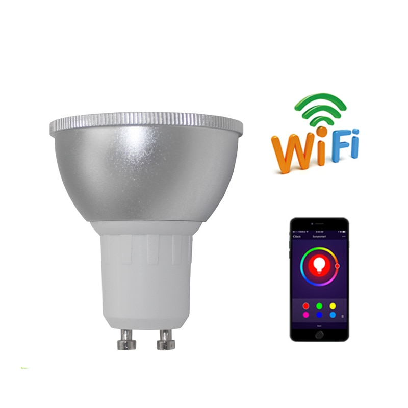 Regulable 5W GU10 E27GU5.3 WiFi bombilla inteligente lámpara LED App operar Asistente de Google Alexa Control despertar inteligente lámpara noche Lig
