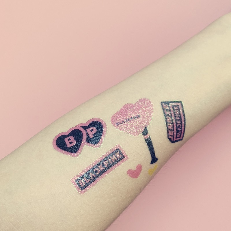 Nueva KPOP BLACKPINK dos veces GOT7 EXO IZONE 17 pegatinas de tatuaje brillantes 10*14CM