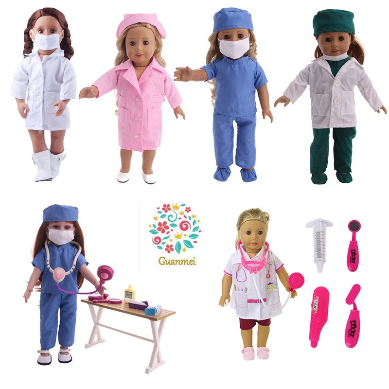 Fit 17 inch 43cm Born New Baby Doll Shoes Accessories Red white blue doctor's and nurse's clothes For Baby Birthday Gift недорого