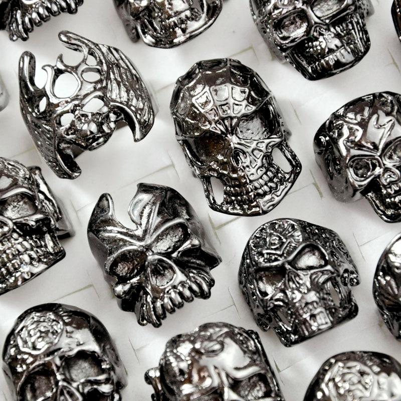 5Pcs New Cool Men's Skull Skeleton Gothic Biker Rings Men Rock Punk Ring Party Favor Wholesale Jewelry Lots Top Quality LR4107