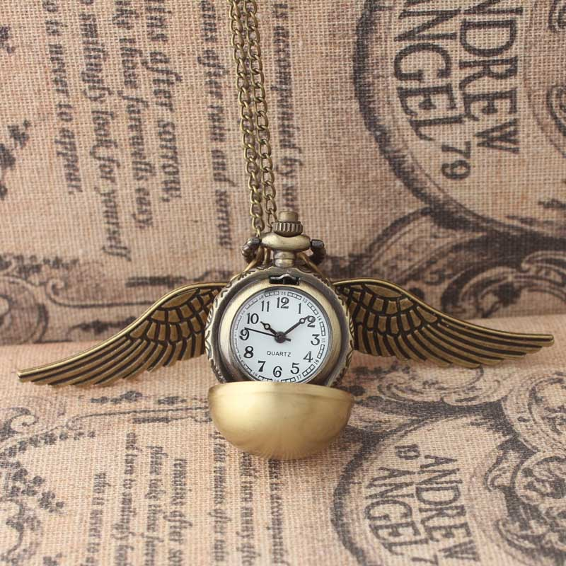 Антикварные старинные с сердечком снитч перья карманные часы ретро Подвеска для ожерелья цепи Подарки для Мужские Женские аксессуар