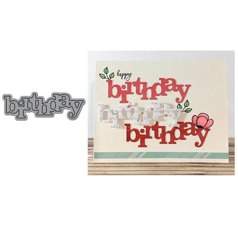 Troqueles de corte de Metal de cumpleaños de palabra grande para álbum para recortes de fotos papel gofrado manualidades decorativas para tarjetas