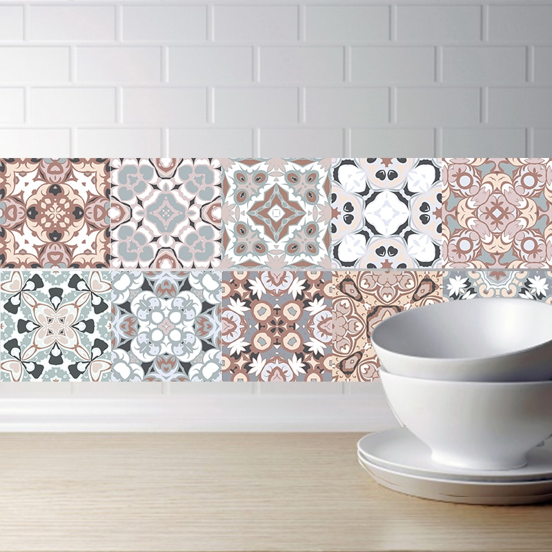 AliExpress - Arabic Style Mosaic Tile Stickers For Living Room Kitchen Retro 3D Waterproof Mural Decal Bathroom Decor DIY Adhesive Wallpaper