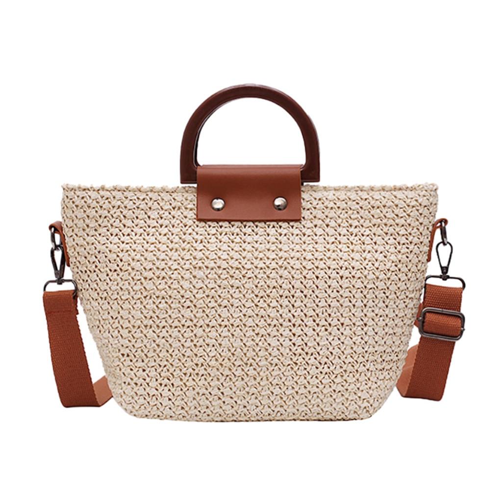 Straw Shoulder Bag For Womens Fashion New Rattan Woven Handbag Beach Summer Crossbody Messenger Bag 2Ways Hand BagsBolso Mujer