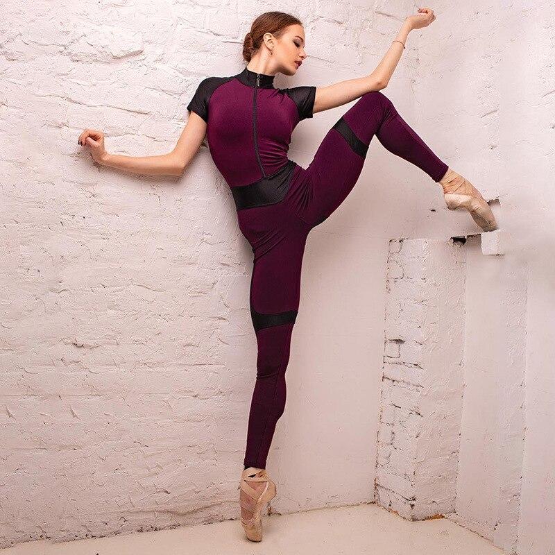 Conjunto de Yoga de una pieza de retazos de cuero para mujer, Sexy traje de Yoga con cremallera, ropa de gimnasio, ropa de entrenamiento para correr, ropa deportiva