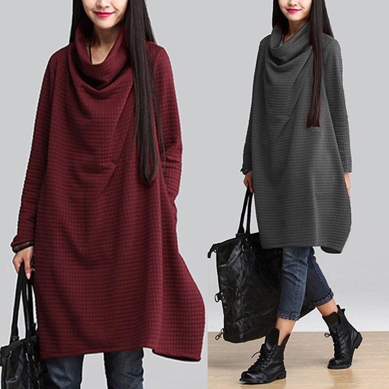 ZANZEA-Vestido con capucha y cuello de tortuga, para mujer, a cuadros, temporada otoño 2020, sudadera de manga larga, Vestido informal para mujer, bata estilo camisa