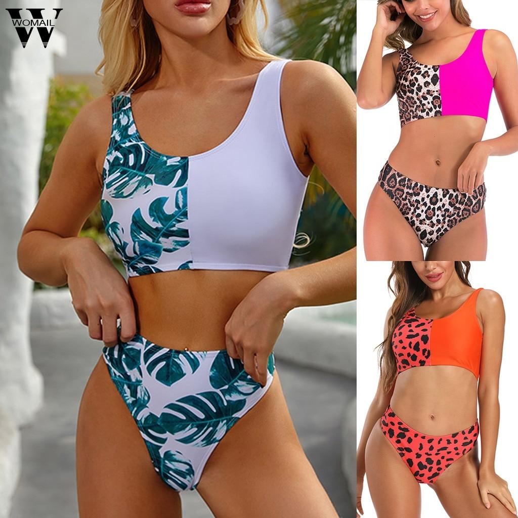 Сексуальные женские летние купальники бикини набор в форме листьев, в стиле бохо принт пляжный купальник женский купальный костюм с пуш-ап Бразильское бикини Feminino