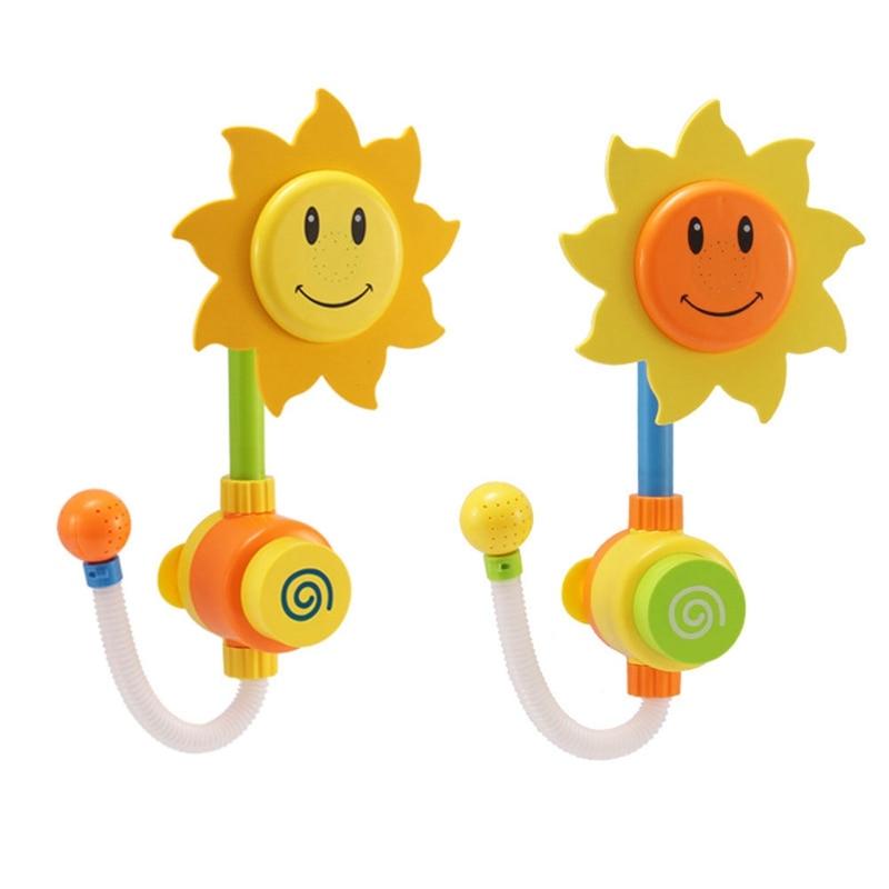 Juego divertido de agua para bebé, bañera, grifo de ducha con forma de girasol Agua pulverizada, juguetes de baño para niños de colores aleatorios