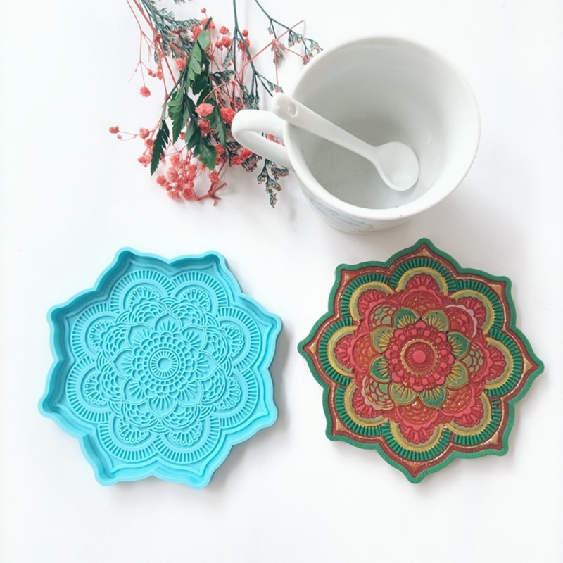 3 Pcs Flower Shaped Coaster Epoxy Resin Mold Cup Mat Casting Silicone Mould DIY Crafts Home Decoration Ornaments Making Tool