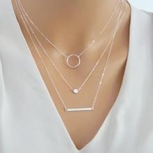 ZUOWEN New Fashion Multi-Layer Round Pendant Necklace Circle Bar Choker Necklace Clavicle Chain Jewelry XL1085