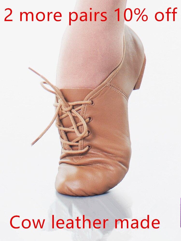 Genuine Cow Leather Lace Up Oxford Jazz Dance Shoes Split Sole Black Tan Tie Boy Girl Women Footwear Modern Ballet Contemporary