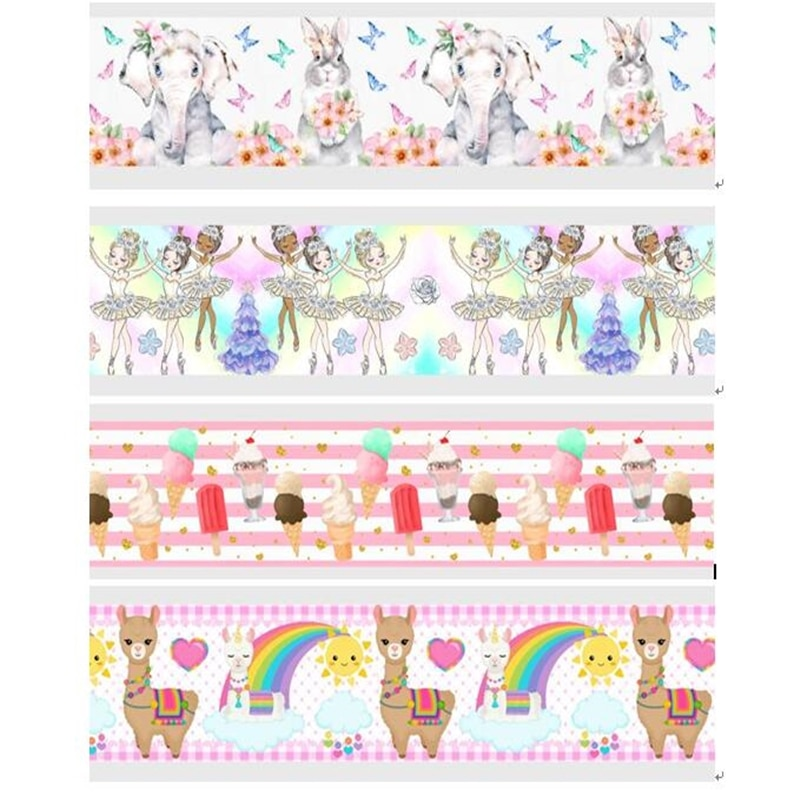 New Arrival ribbon 50Yards 16mm-75mm  Elephant Rabbit Dancer Animal Grosgrain/FOE Ribbons for DIY Bow Craft Wedding Decoration