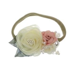Pearl Flower Nylon Rope Girls Headbands High Elastic Band Toddler Fashion Florals Headdress Fresh Style Hair Accessories Bandeau