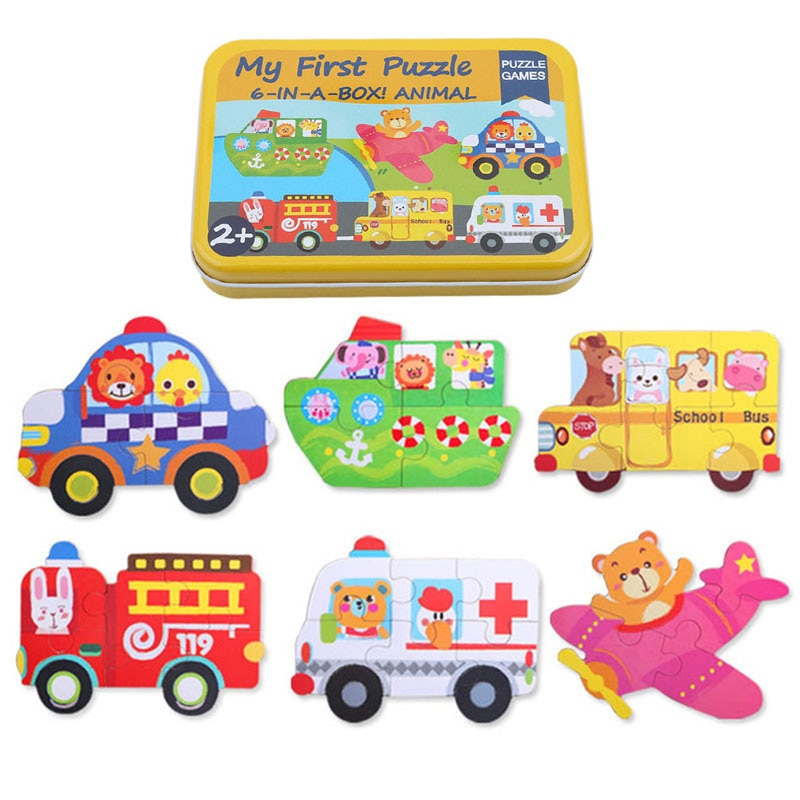 Animales 3D rompecabezas tarjetas para niños rompecabezas Metal caja de hierro rompecabezas de madera Montessori aprendizaje juguetes rompecabezas educativos para niños