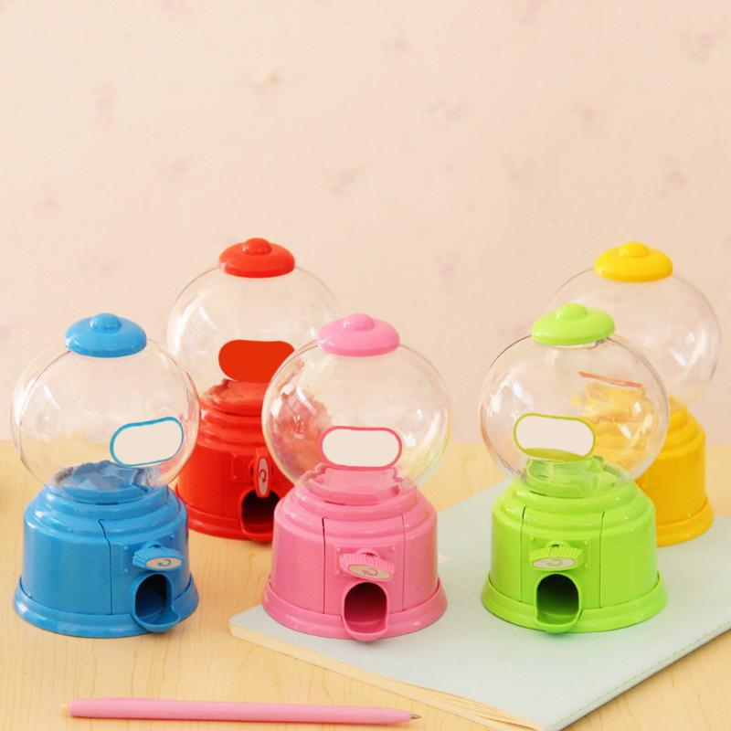 Lindo dulces Mini máquina de dulces burbuja Gumball dispensador moneda Banco niños juguete