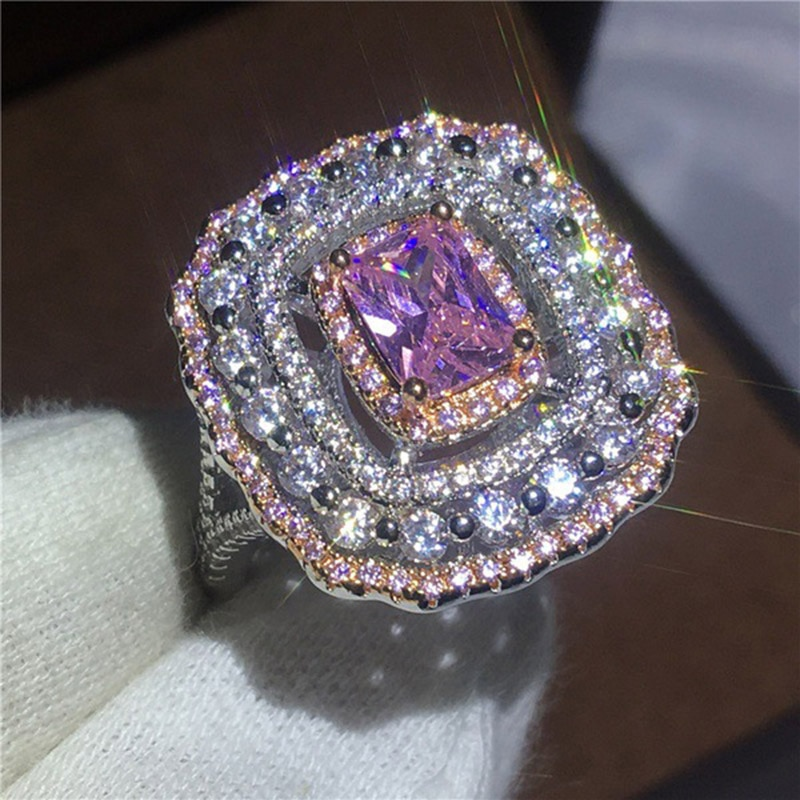 Lujoso y exquisito anillo cuadrado S925 de princesa rosa, joyería geométrica para damas, regalo de compromiso de boda